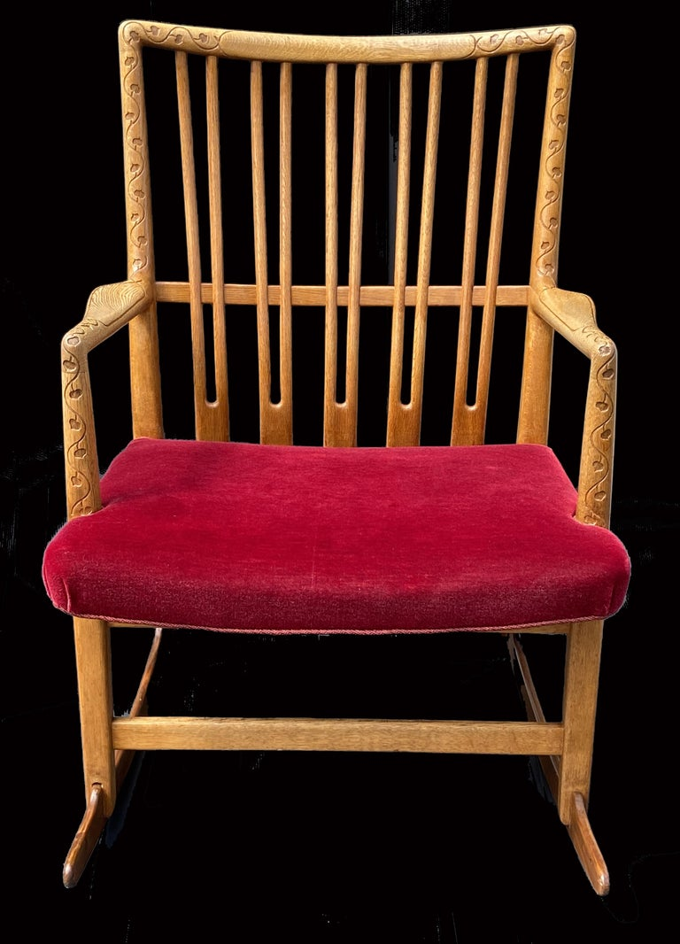 Mid-20th Century Oak Rocking Chair Model ML33 by Hans J.Wegner for Mikael Laursen For Sale