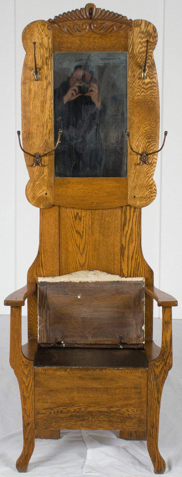 Oak Seated Hall Tree Stand Seat With Storage Coat Hat Rack