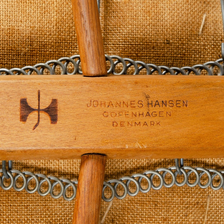 Upholstery 1950s Danish Oak Settee by Hans J. Wegner for Johannes Hansen For Sale