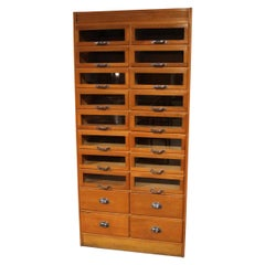 Oak Shop Display Cabinet with 20 Drawers