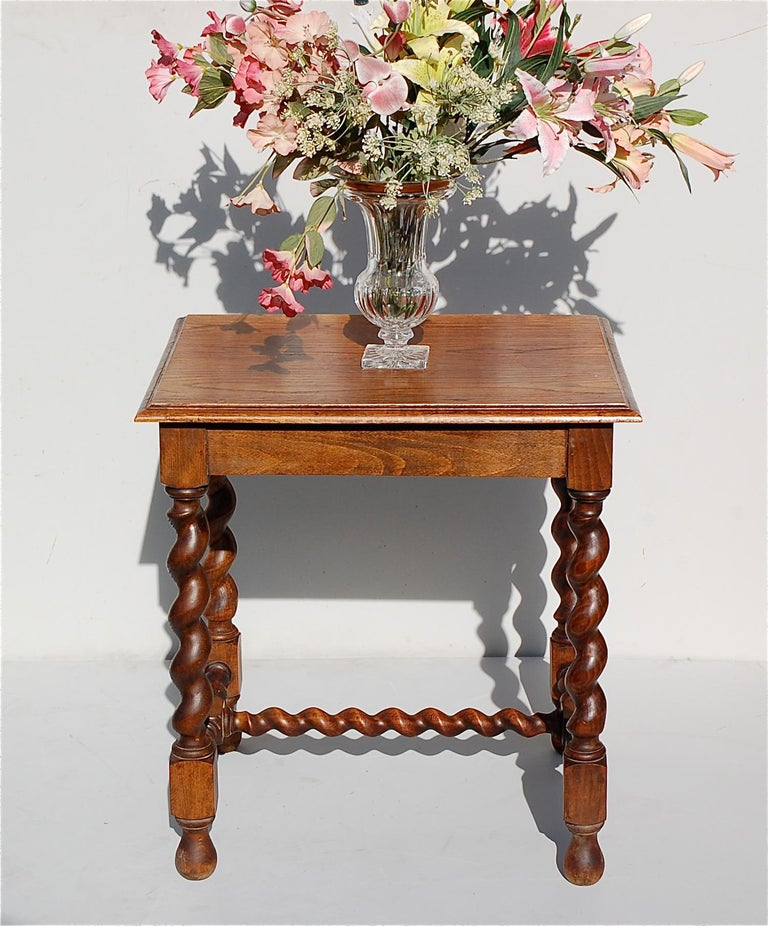 Oak Side Table with Barley Twist Legs, Early 20th Century For Sale 2