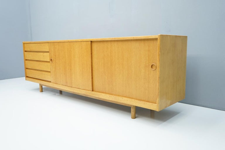Scandinavian Modern Oak Sideboard with Two Sliding Doors, Denmark, 1960s For Sale