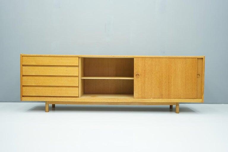 Danish Oak Sideboard with Two Sliding Doors, Denmark, 1960s For Sale