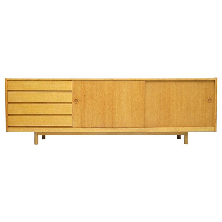 Oak Sideboard with Two Sliding Doors, Denmark, 1960s For Sale