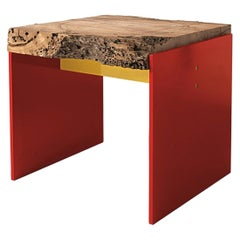 Oak Slat Red Stool