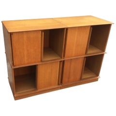 Oak Small Bookcase with Sliding Doors by Oscar, circa 1960