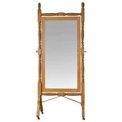Oak Spool Turned Dressing Mirror