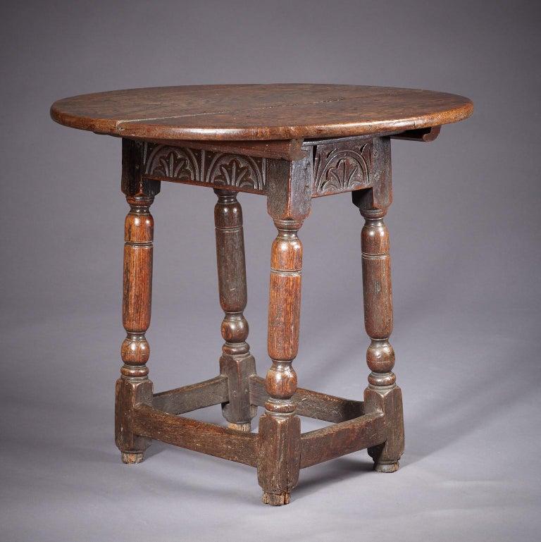 Jacobean Oak Table Stool, Mid-17th Century English, circa 1640-1650 For Sale