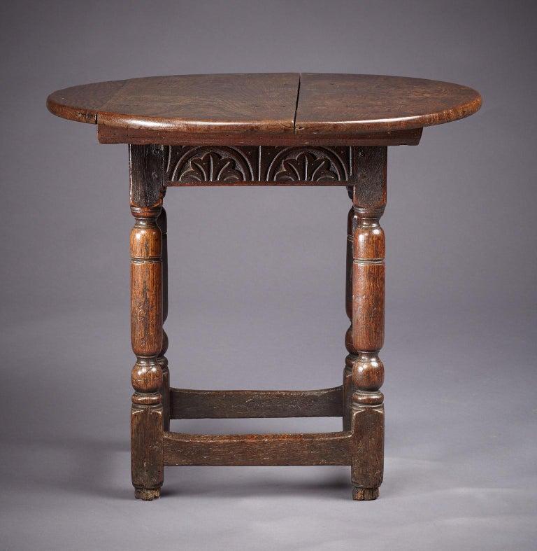British Oak Table Stool, Mid-17th Century English, circa 1640-1650 For Sale