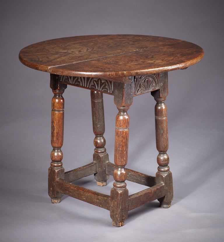 Carved Oak Table Stool, Mid-17th Century English, circa 1640-1650 For Sale