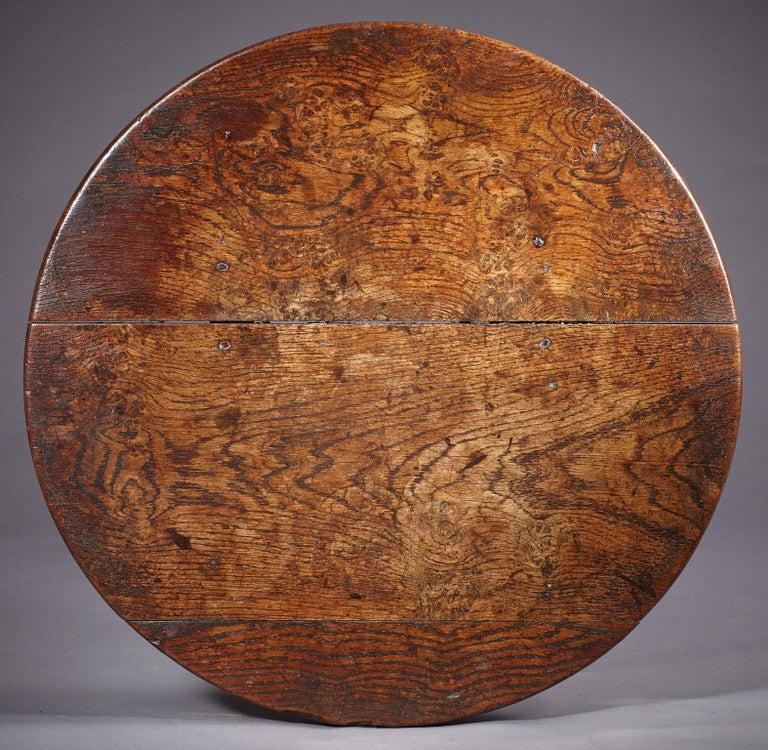 Elm Oak Table Stool, Mid-17th Century English, circa 1640-1650 For Sale