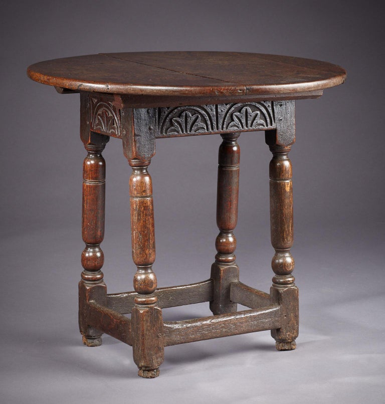 Oak Table Stool, Mid-17th Century English, circa 1640-1650 For Sale 2