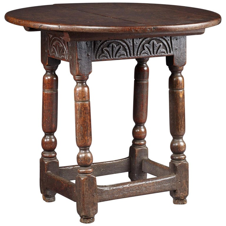 Oak Table Stool, Mid-17th Century English, circa 1640-1650 For Sale