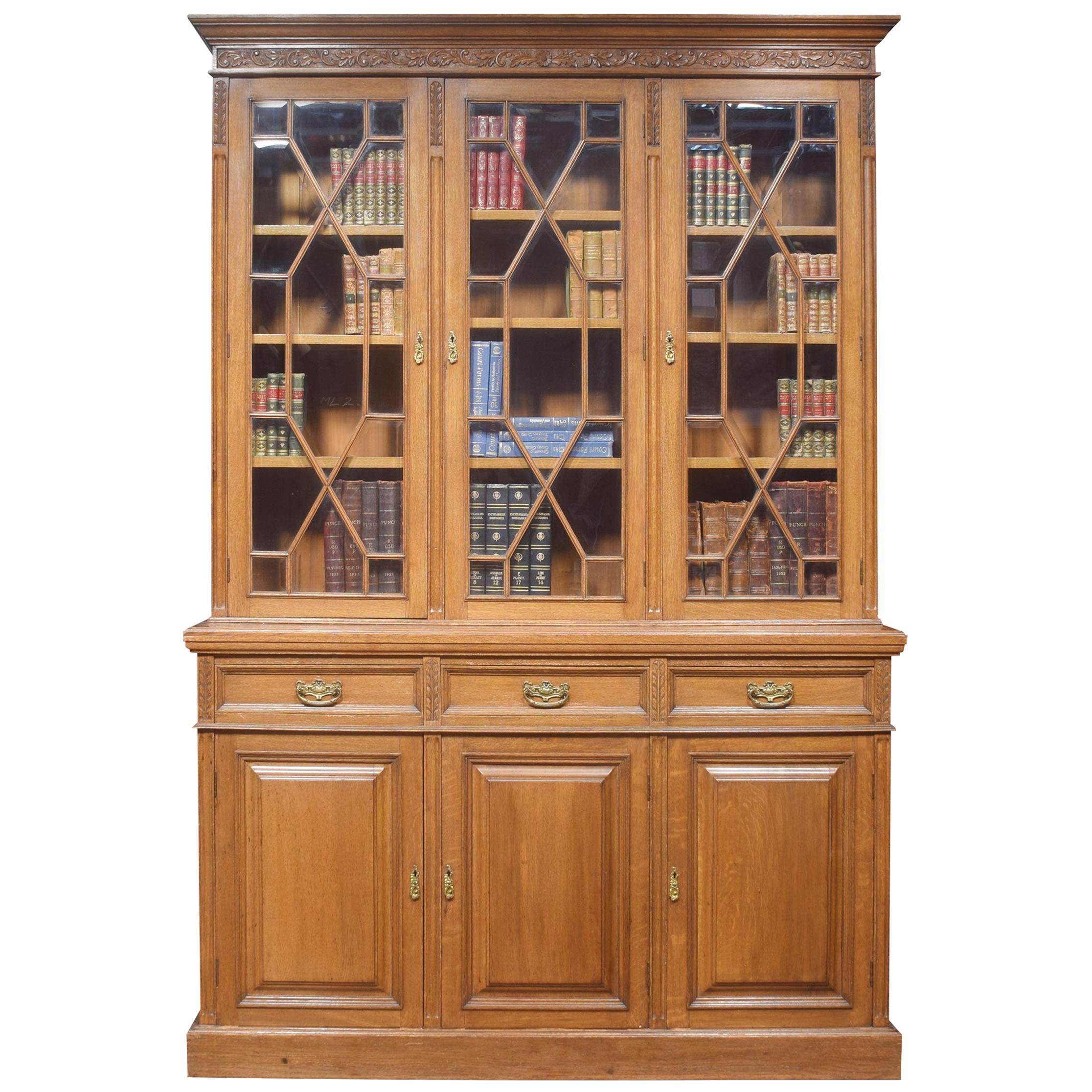 Oak Three Door Bookcase