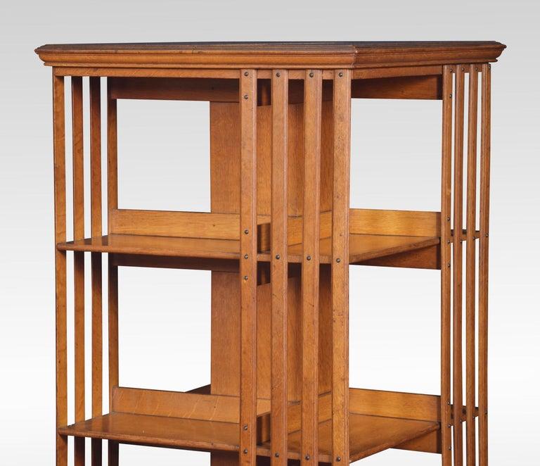 British Oak Three-Tier Revolving Bookcase For Sale