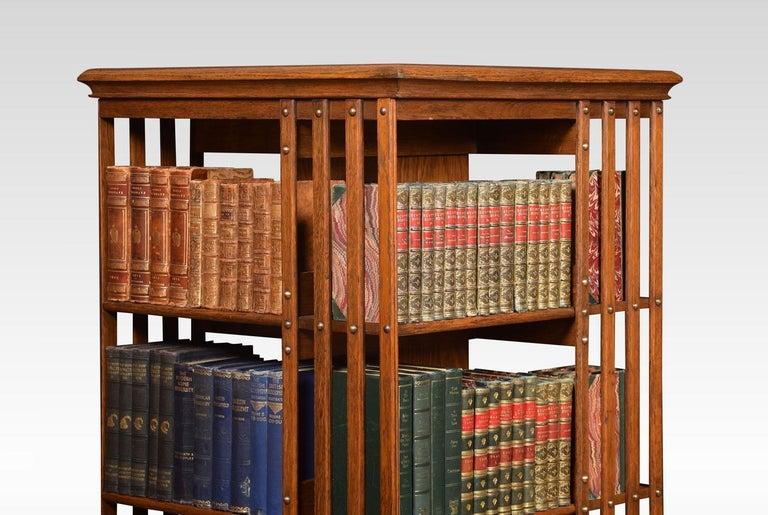 British Oak Three-Tier Revolving Bookcase