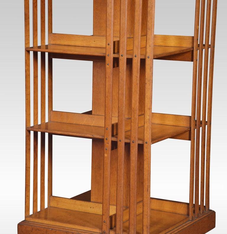 Oak Three-Tier Revolving Bookcase In Good Condition For Sale In Cheshire, GB