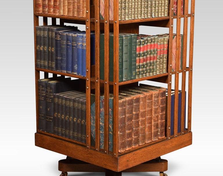 Oak Three-Tier Revolving Bookcase In Good Condition In Cheshire, GB