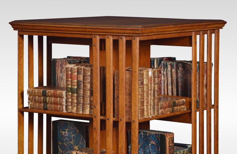 19th Century Oak Three-Tier Revolving Bookcase For Sale