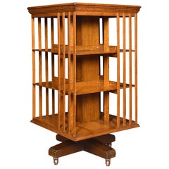 Oak Three-Tier Revolving Bookcase