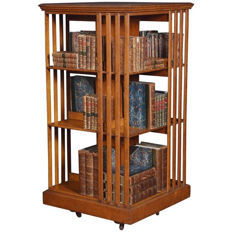 Oak Three-Tier Revolving Bookcase For Sale