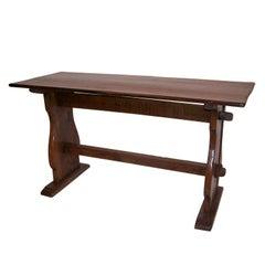 Oak Trestle Table with Double Stretcher Dutch 18th. Century.