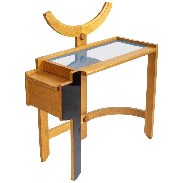 Oak Vanity Table by Guillerme et Chambron For Sale