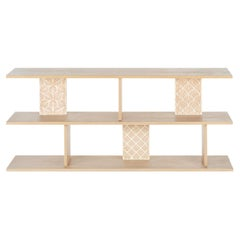 Oak Veneer Back Sofa Table with Beautiful Inlayed Patterns from Nature