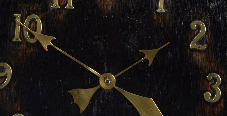 British Oak Wall Hanging Missionary Clock For Sale