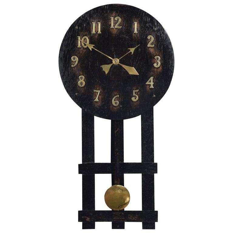 Oak Wall Hanging Missionary Clock For Sale