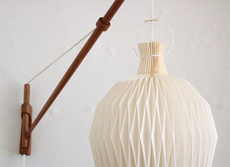 Scandinavian Modern Oak Wall Lamp from Louis Poulsen with Le Klint Shade, Danish Modern, 1950s For Sale