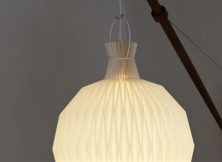 Patinated Oak Wall Lamp from Louis Poulsen with Le Klint Shade, Danish Modern, 1950s For Sale