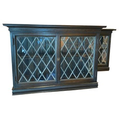 Oak Wall Mount Cabinets with Lead Glass Doors and Sides, Late 19th Century