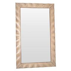 Oak Wavy Wide Frame Mirror, France, 1940s