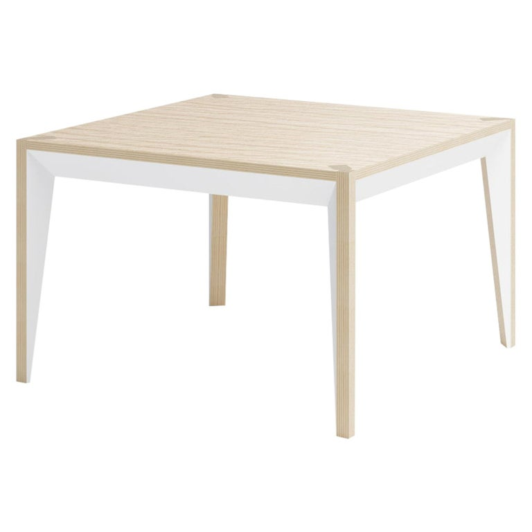 Oak White MiMi Square Coffee Table by Miduny, Made in Italy For Sale