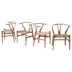 Oak Wishbone Armchairs by Hans Wegner