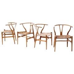 Oak Wishbone Armchairs by Hans Wegner