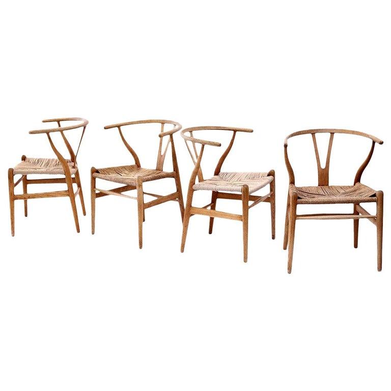 Oak Wishbone Armchairs by Hans Wegner For Sale