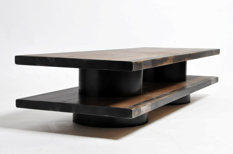 French Oak Wood Coffee Table with Metal Trim For Sale