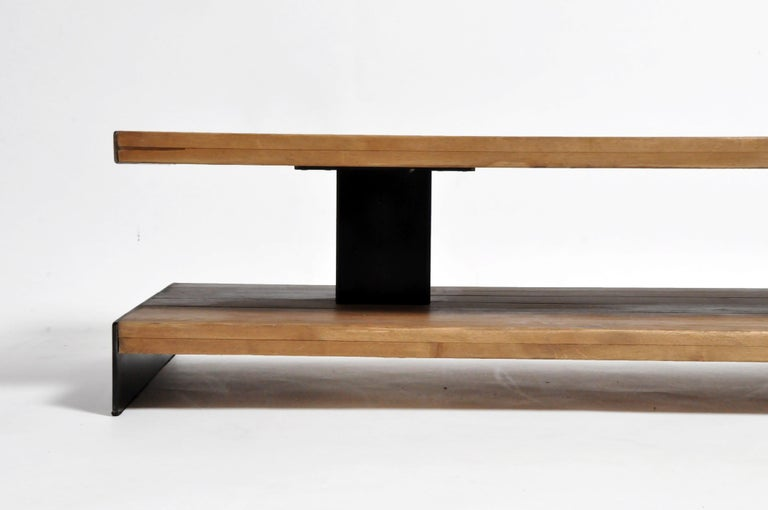 Contemporary Oak Wood Coffee Table with Metal Trim For Sale