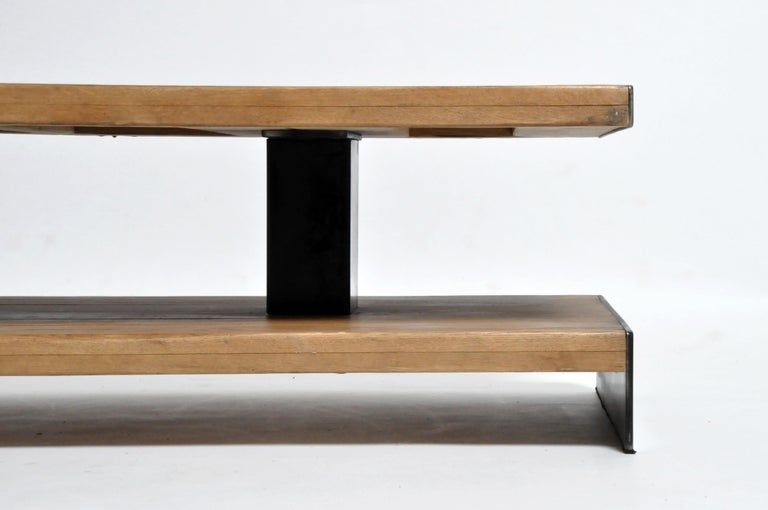 Oak Wood Coffee Table with Metal Trim For Sale 1