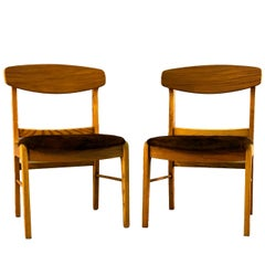 Oak Wood Dining Chairs with Cowhide, Pair