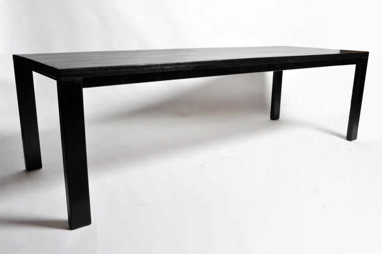 French Oak Wood Dining Table with Metal Trim For Sale