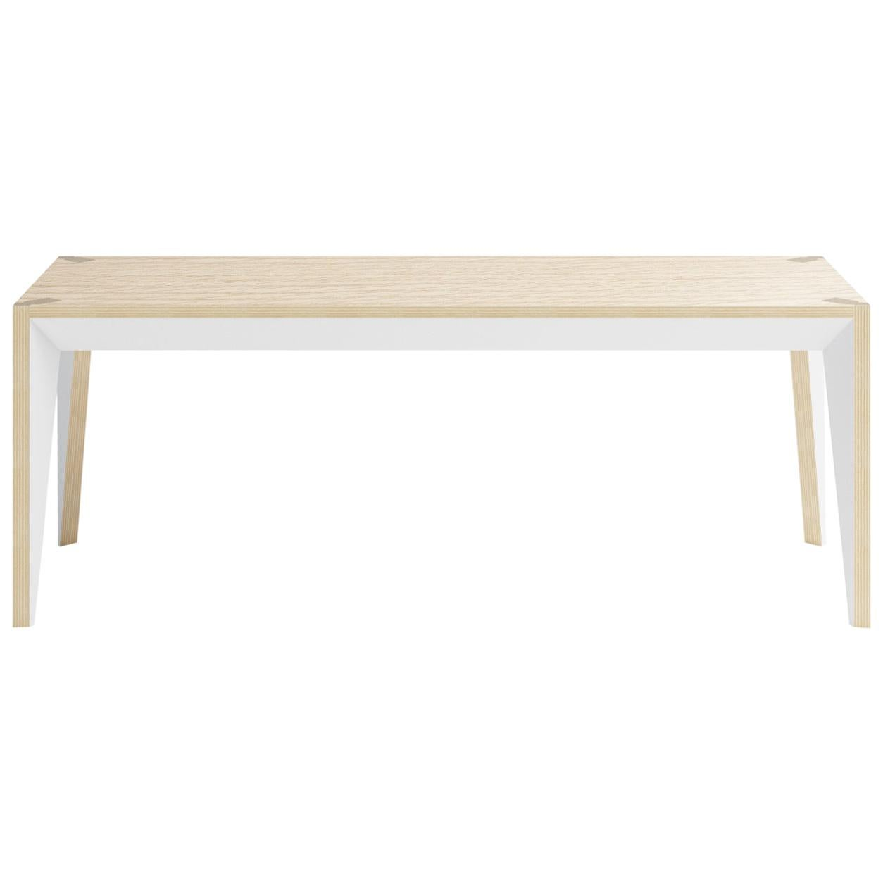 Oak Wood MiMi Bench White by Miduny, Made in Italy