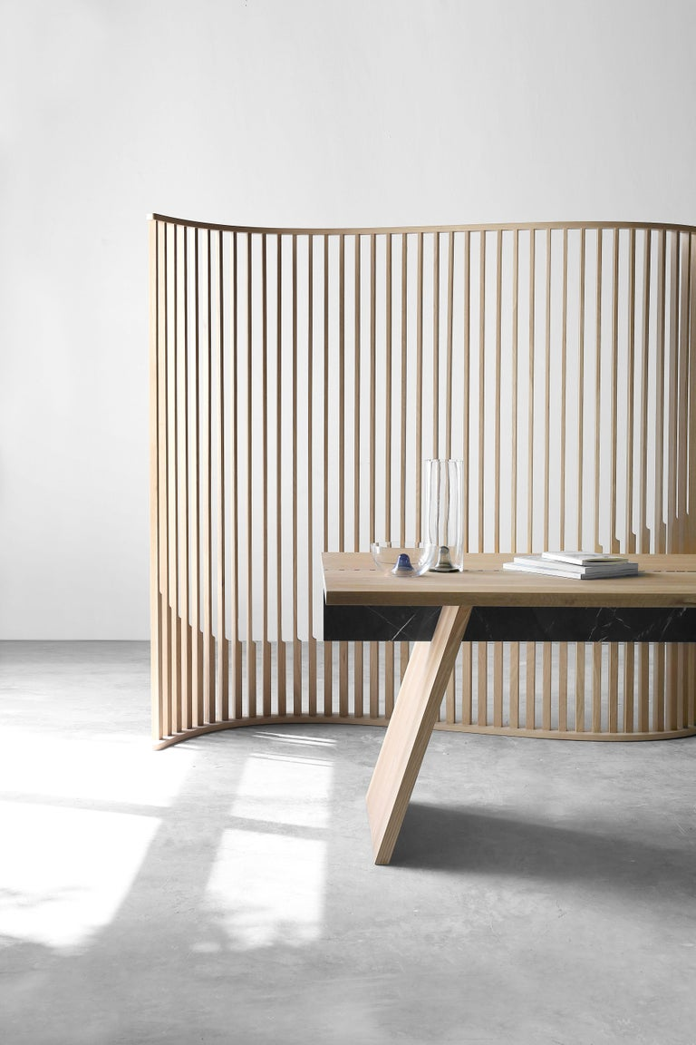 Oak Wood Room Divider from Collection Laws of Motion by Joel Escalona For Sale 2