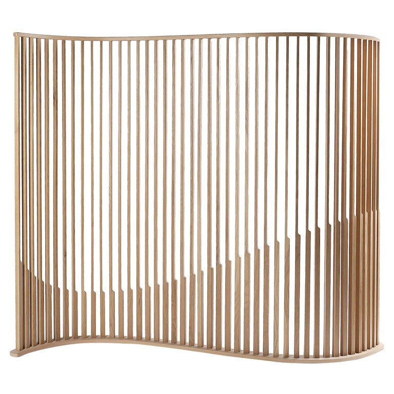 Oak Wood Room Divider from Collection Laws of Motion by Joel Escalona For Sale