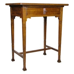 Oak Wood Side Table/ Sewing Table Art Nouveau, Austria, circa 1910