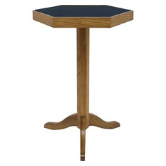 Oak Wood Side Table with Shaped Top on Pedestal Base and Legs