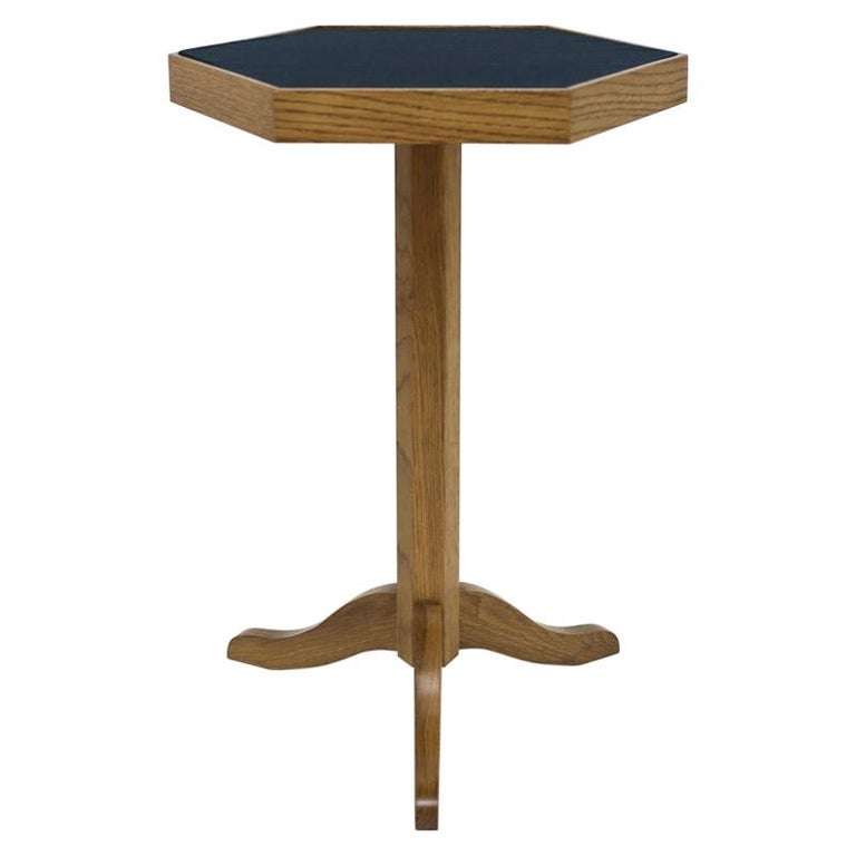 Oak Wood Side Table with Shaped Top on Pedestal Base and Legs For Sale