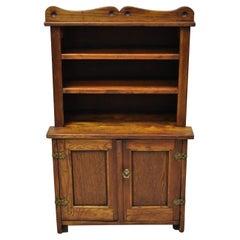 Oak Wood Small Miniature Cupboard Colonial Kitchen Childs Cabinet